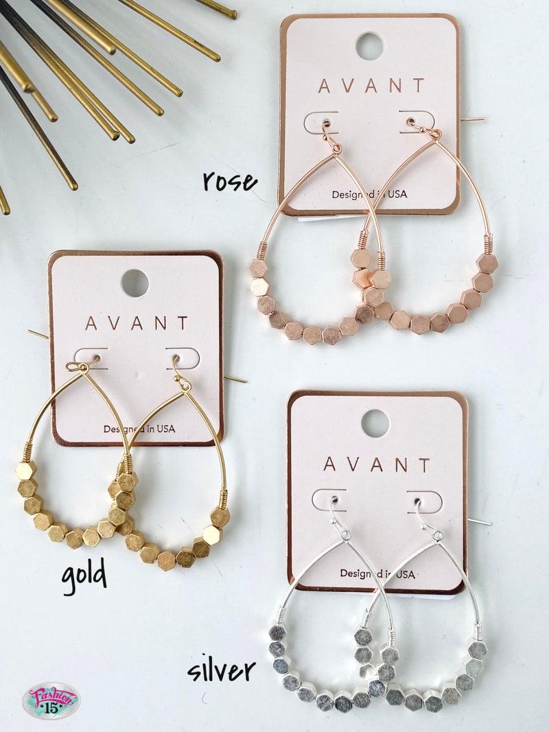 .Teardrop Hexagon Metal Earrings