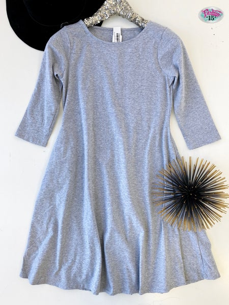 ~ Heather Grey 3/4 Sleeve Classic A-line Dress *Final Sale*