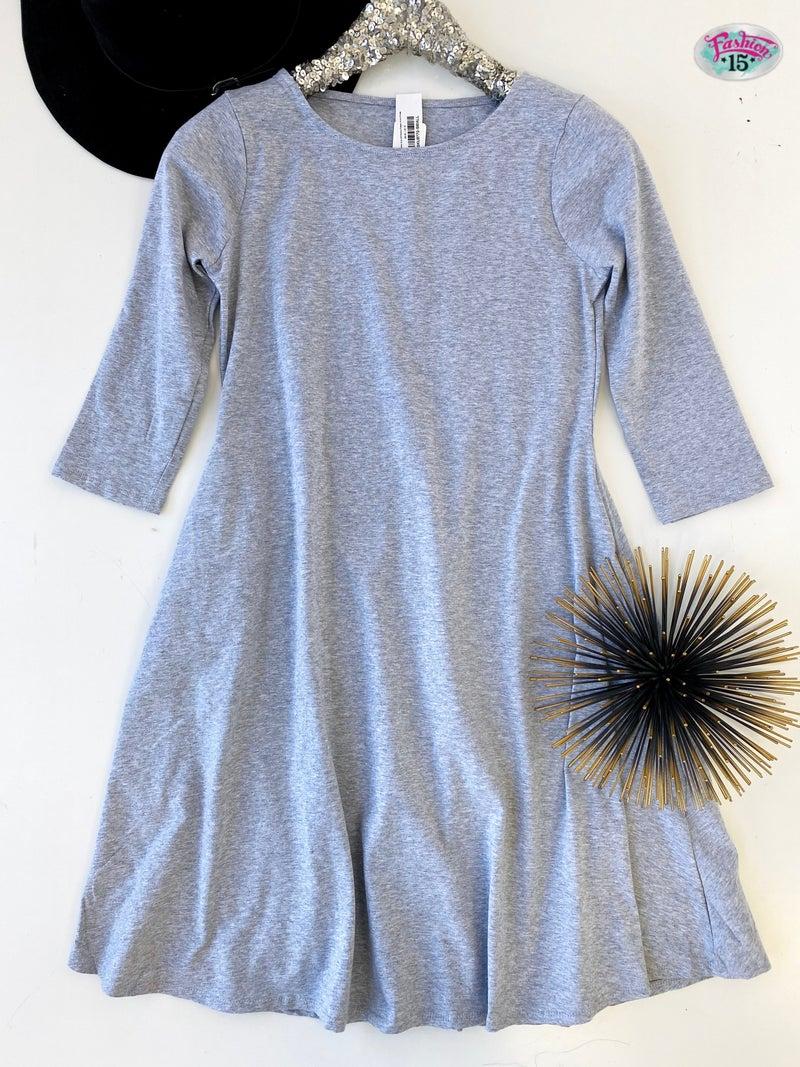 ~ Heather Grey 3/4 Sleeve Classic A-line Dress *Final Sale*