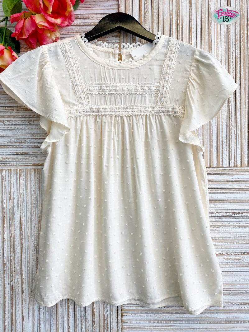 ~Cream Lace Detail Top