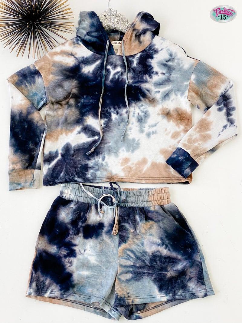 Navy & Mocha Tie Dye Hoodie & Short Set