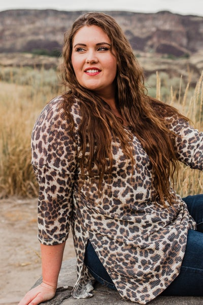 Plus Animal Print Tunic Top