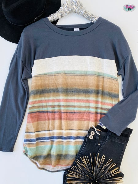 ~Super Soft Color Block Top