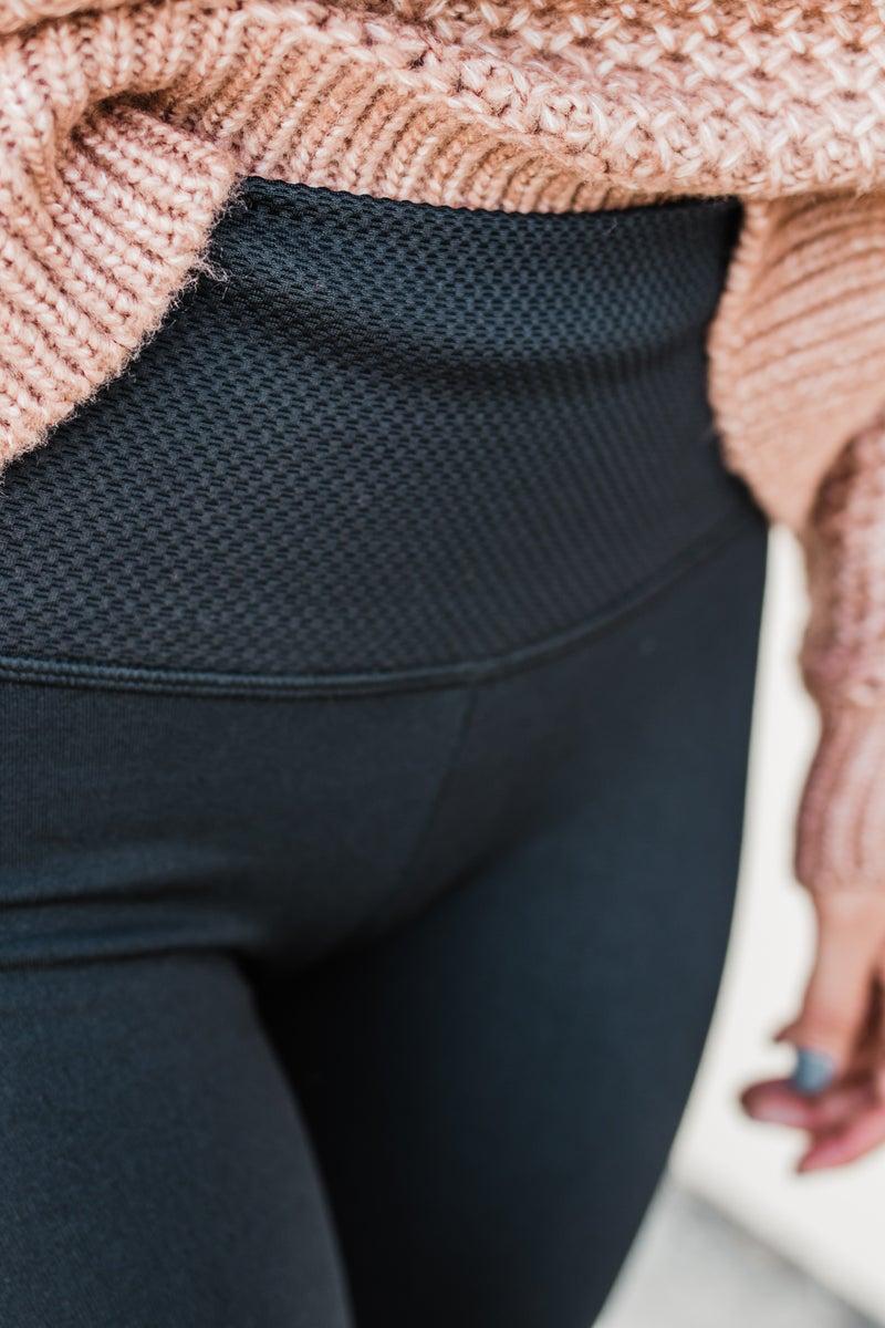 Black High Waist Fleece Leggings