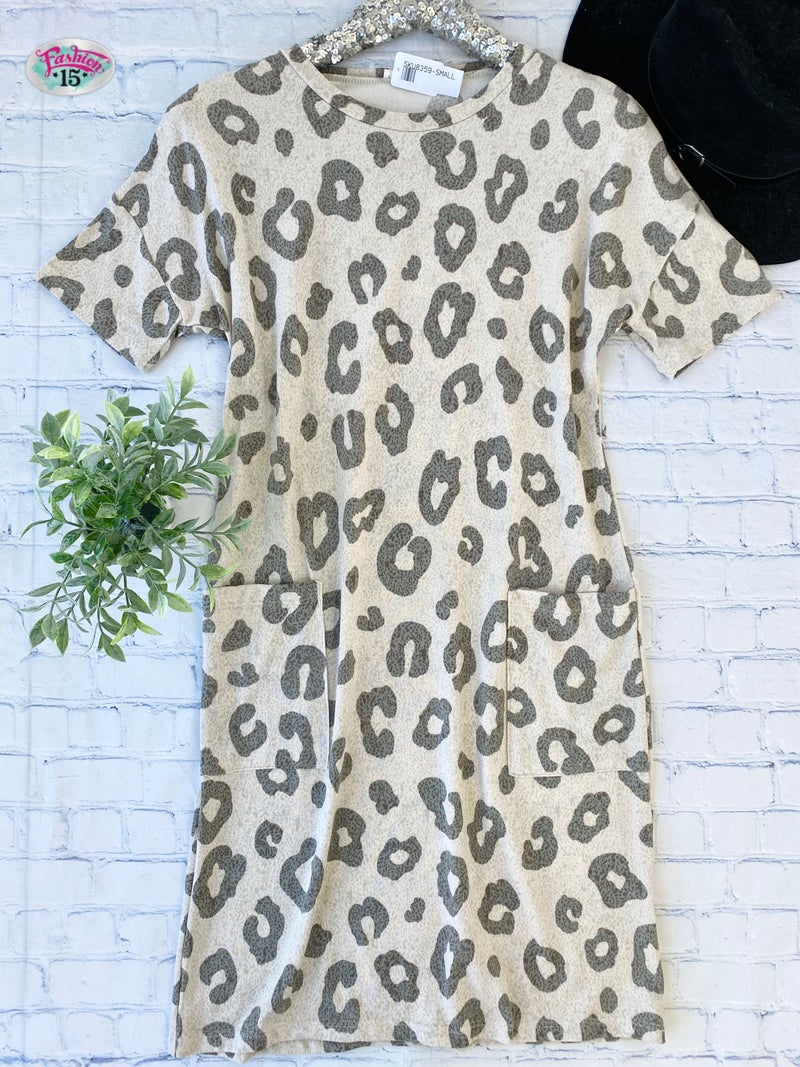 Animal Print Midi Dress w/ Pockets
