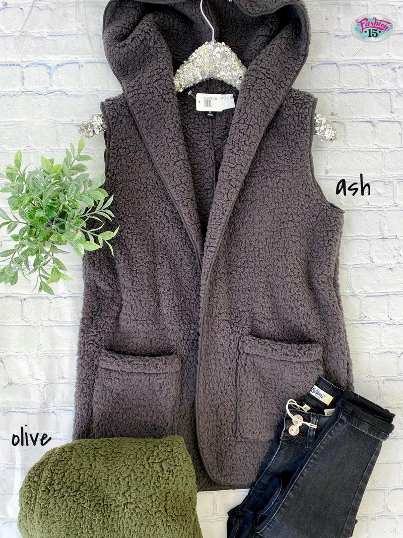Plus Soft Sherpa Hooded Vest w/ Pockets