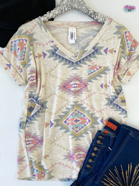 .Cream Aztec Top