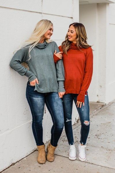 Solid Cowl Neck Knit Top