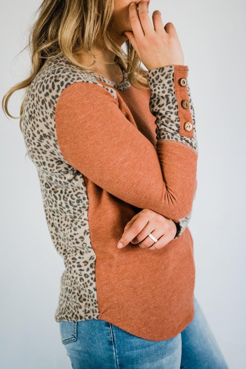 Super Soft Rust & Animal Print Top