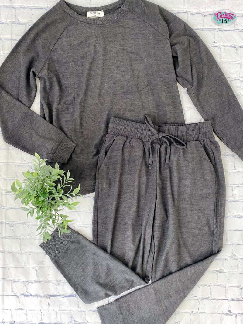 Plus Solid Charcoal Activewear
