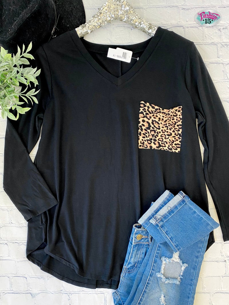Plus Black Top w/ Animal Print