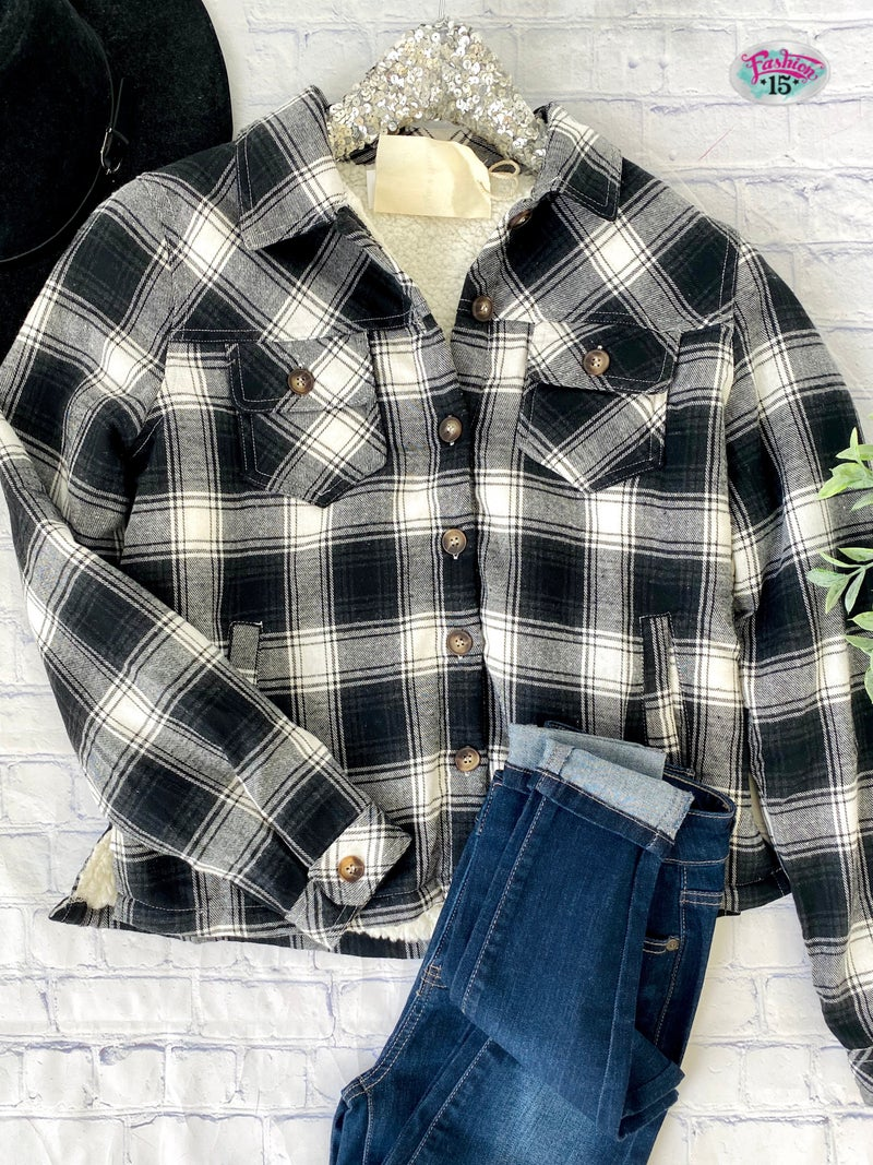 Plaid Button-Up w/ Sherpa