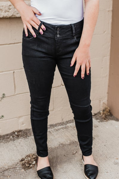 .Black Mid Rise Skinny Denim