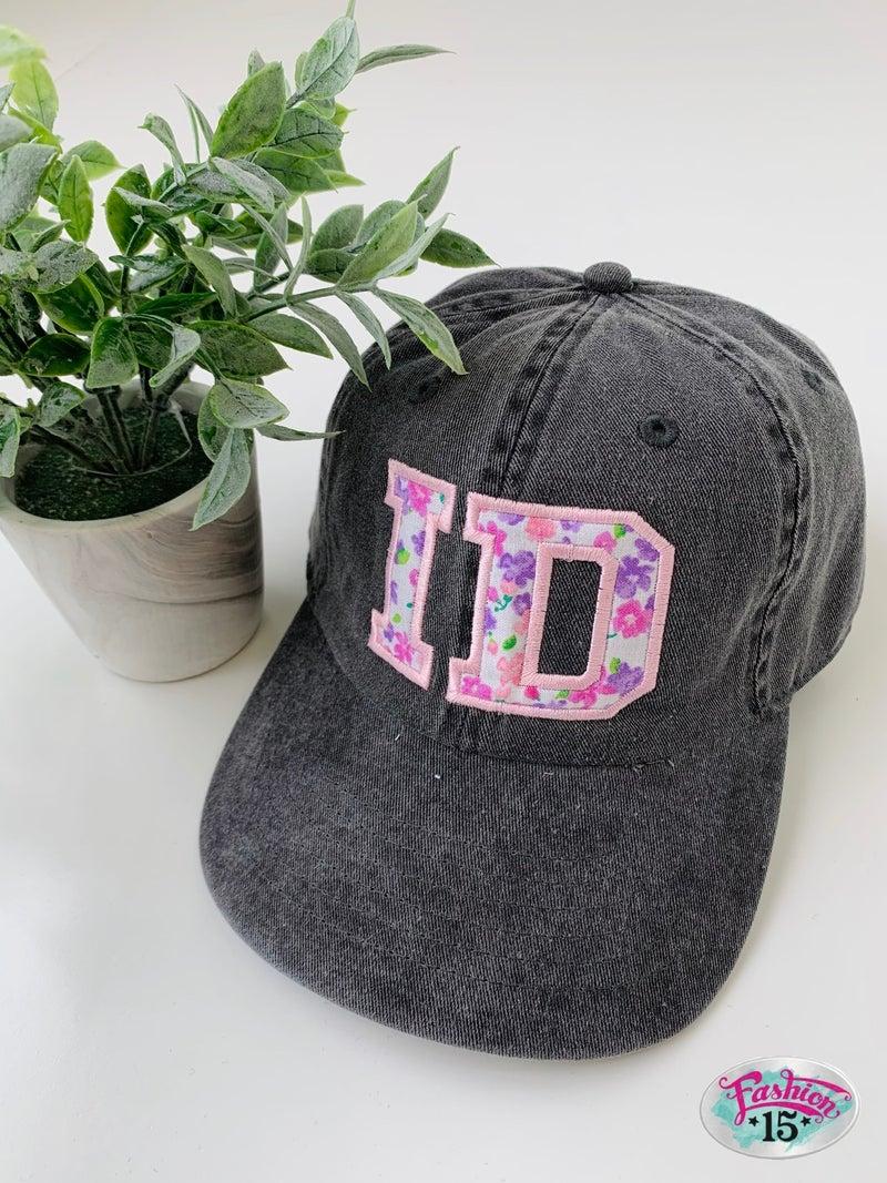 Dark Grey & Floral Idaho Baseball Hat