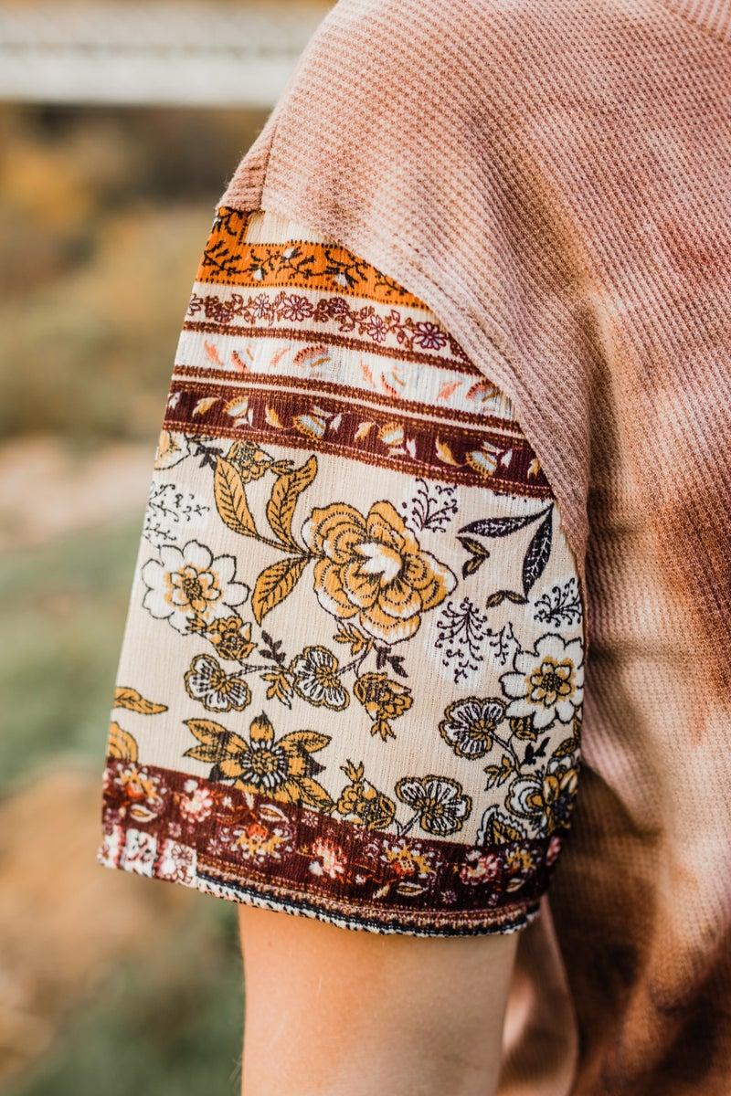 Mocha Top w/ Patterned Sleeves