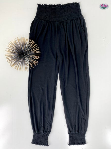 Plus High-Waisted Smocked Joggers