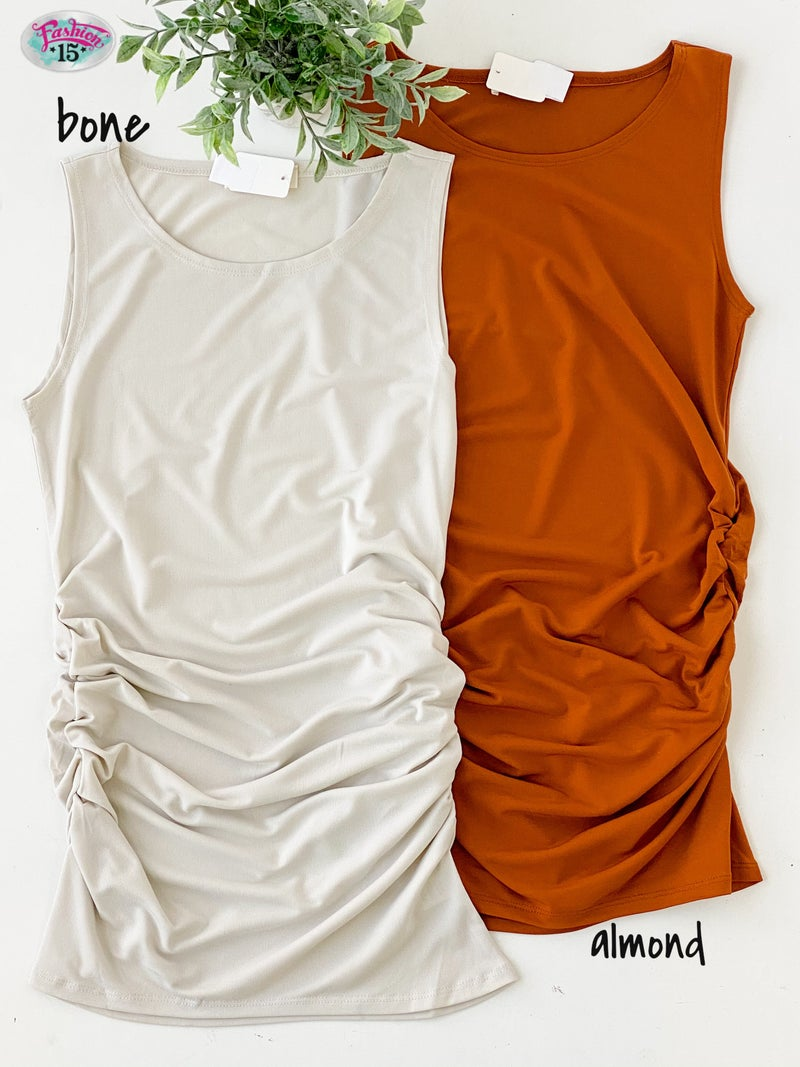 ~Ruched Sleeveless Top