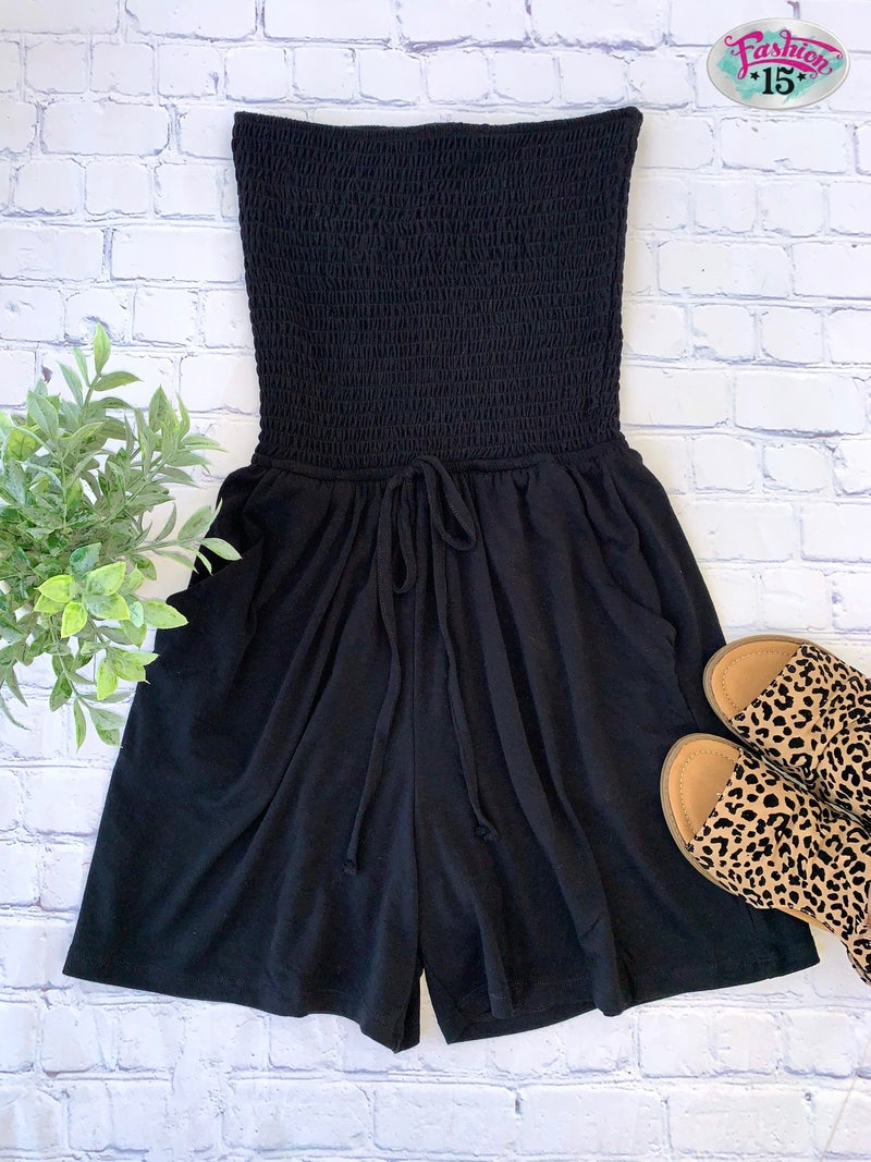 Black Smocked Tube Romper