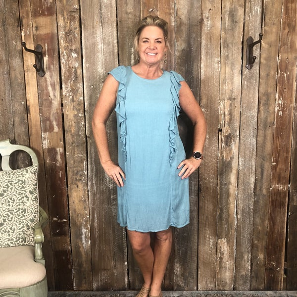 Blue Dress with Ruffle Side Panels, Fully Lined (GA2)