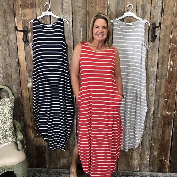 Striped Sleeveless Maxi Dress with Curved Side Split Hem and Pockets (GA2)