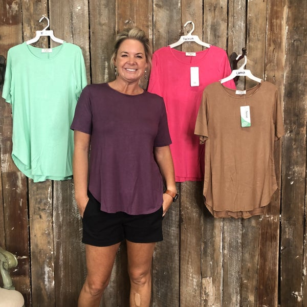 Modal Short Sleeve Round Neck Top with Curved High/Low Hem (GA2)