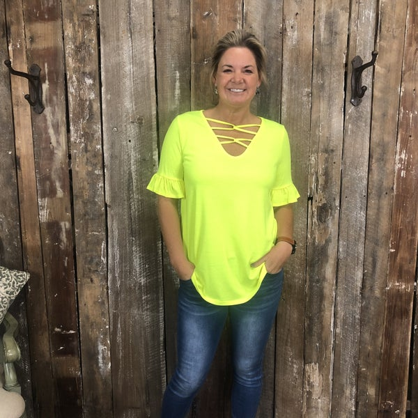 Neon Yellow Top with Strappy V-Neck(GA2)