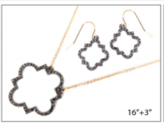 Gold Chain with Charcoal Gray  Quatrefoil Pave Necklace Set