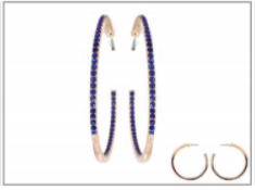 Blue Rhinestone Hoop Earrings MJB