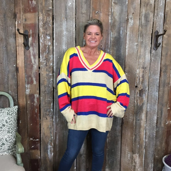 Plus Yellow/Pink/Royal/Tan Striped Knit Sweater with V-Neck (GA2)