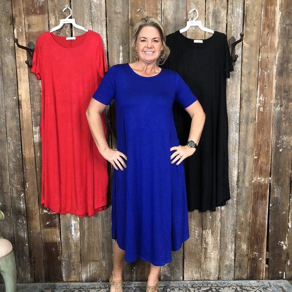 Viscose Short Sleeve Round Neck Dress with Pockets (GA2)