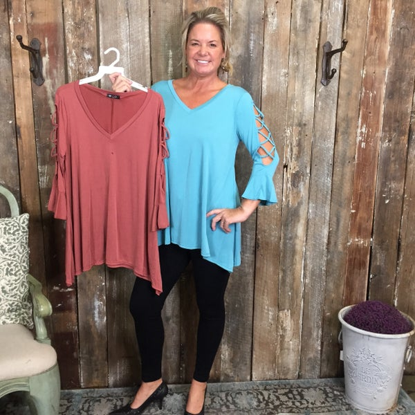 Solid V-Neck Top with Criss Cross Cutout Sleeve Detail