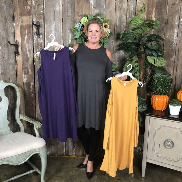 Solid Cold Shoulder Long Sleeve Dress/Tunic with Pockets(GA2)