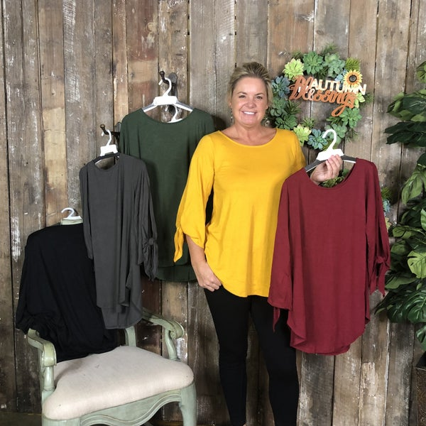 Solid Top with 3/4 Length Split Tied Sleeves and Rounded Hem(GA2)