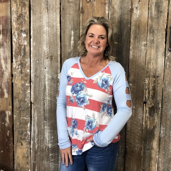 Tomato/White Striped Floral Print Top with Contrasting Blue Ladder Cut Out Sleeves (GA2)