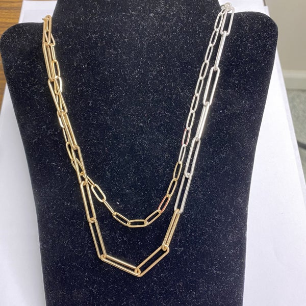 Double Layer Silver and Gold Necklace