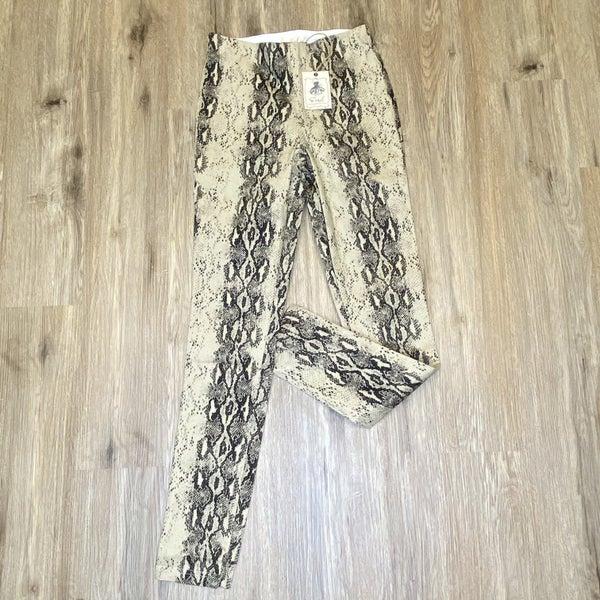 Boutique Item: Easel Khaki Snake Skin Distressed Skinny Pants