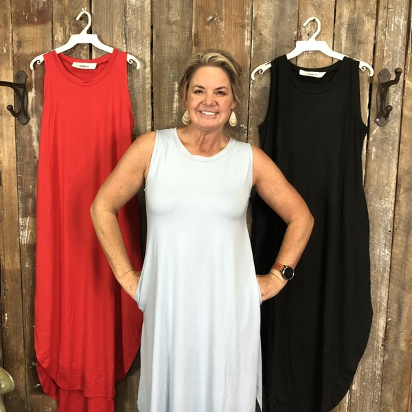 Brushed DTY Dress with Curved High/Low Split Hem and Pockets (GA2)
