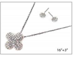 Dark Silver Clover Pave Necklace Set
