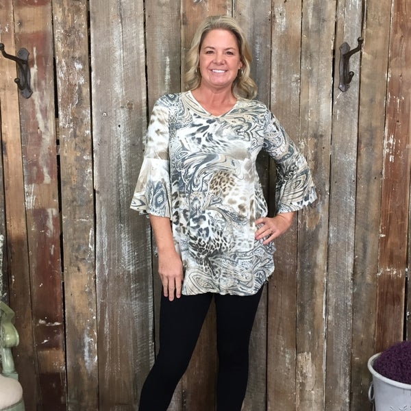 Ivory/Grey Paisley/Animal Print Top with 3/4 Bell Sleeves(GA2)