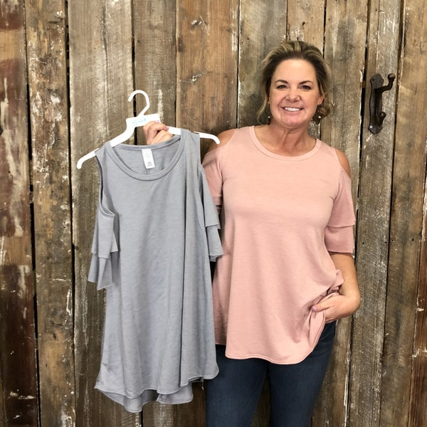 Solid Cold Shoulder Top with Double Ruffle Sleeves and Curved Hem (GA2)