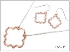 Silver Chain with Rose Gold Quatrefoil Pave Necklace Set