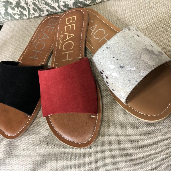 Cabana Suede Slides with Real Leather Uppers-Free Shipping!
