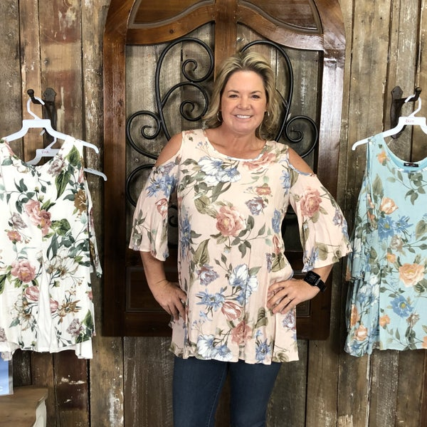 Floral Print Cold Shoulder Top/Tunic with Layered Back Detail
