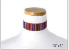Bright Multi Colored Fabric Choker