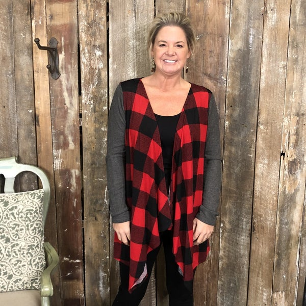 Red/Black Buffalo Plaid Cardigan with Contrasting Charcoal Long Sleeves with Suede Elbow Patches (GA2)