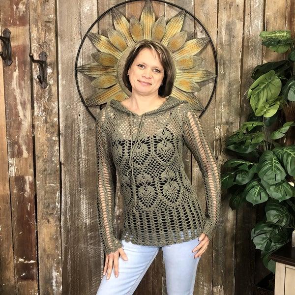 Olive Crocheted Long Sleeve Hoodie(GA1)