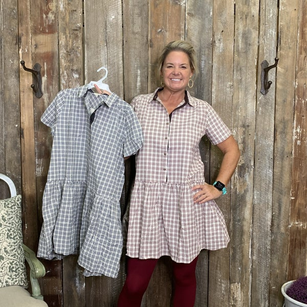 Plaid Short Sleeve Collard Tunic/Dress with Button Front  Detail and Ruffle Waist/Hem(GA2)