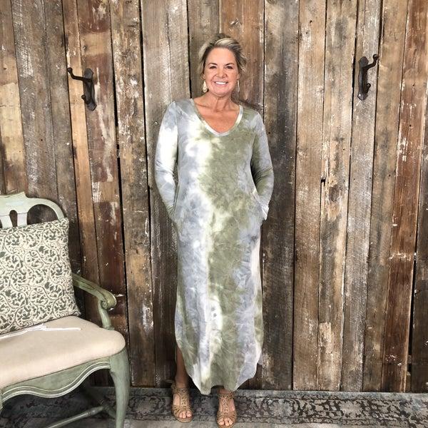 Olive/Grey Tie Dye Maxi Dress with Pockets (GA2)