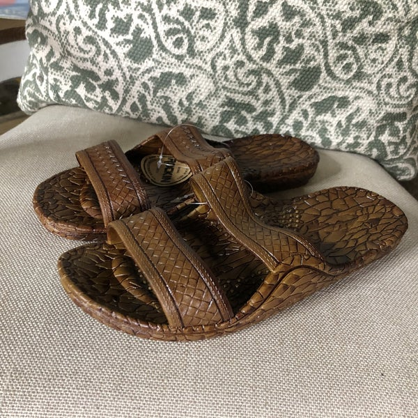 Brown Crocodile Sandals with Double Strap(GA2)