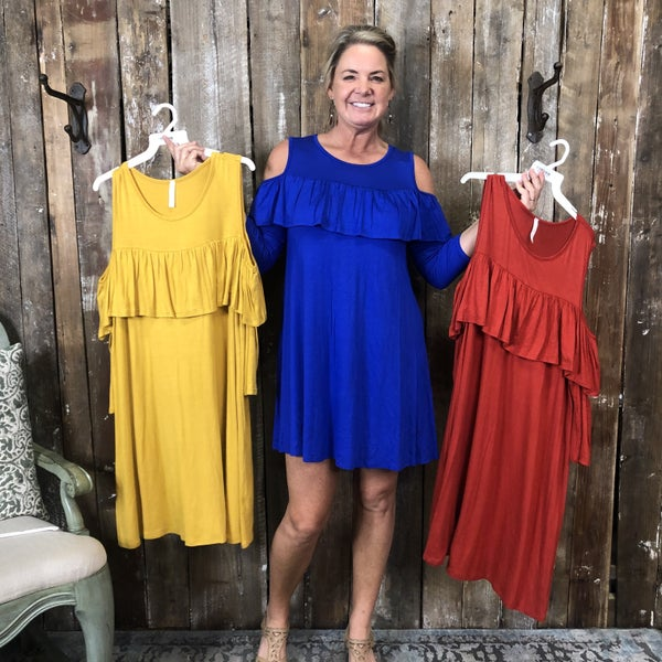 Solid Cold Shoulder Dress with Ruffle Detail (GA2)